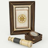 3d model compass set