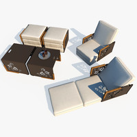 outdoor lounge furniture chair table 3d model