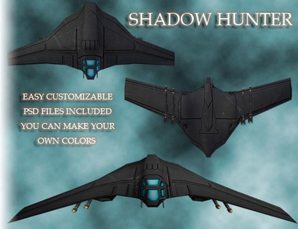 3d model jet shadow hunter space