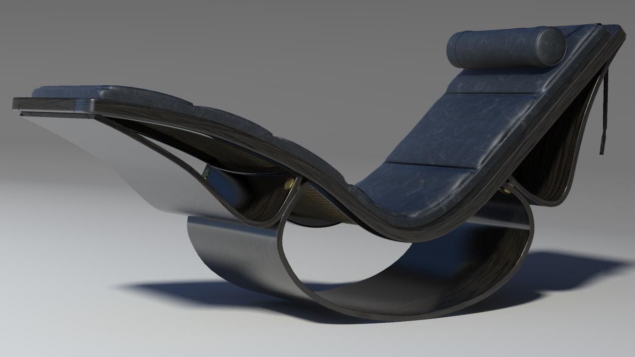3d model rio chaise black