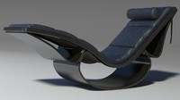 Rio chaise longue black wood leather pillow