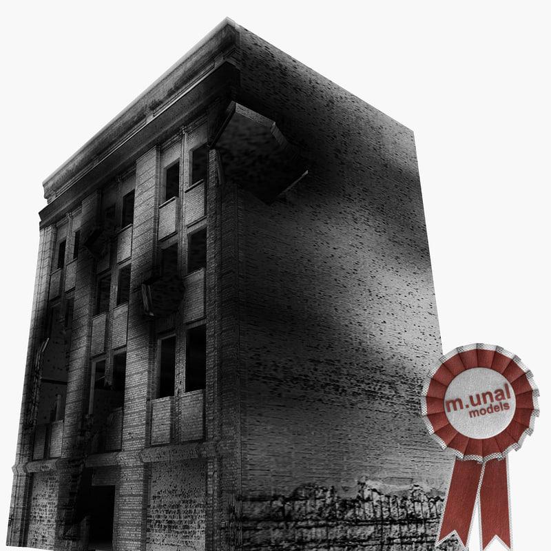damaged building 3d model