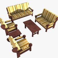 Furniture Set ( 2 small tables, 2 single, 1 double and 1 triple sofas)