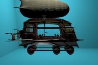 3dsmax airship train cart