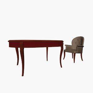3d cabinet table armchair