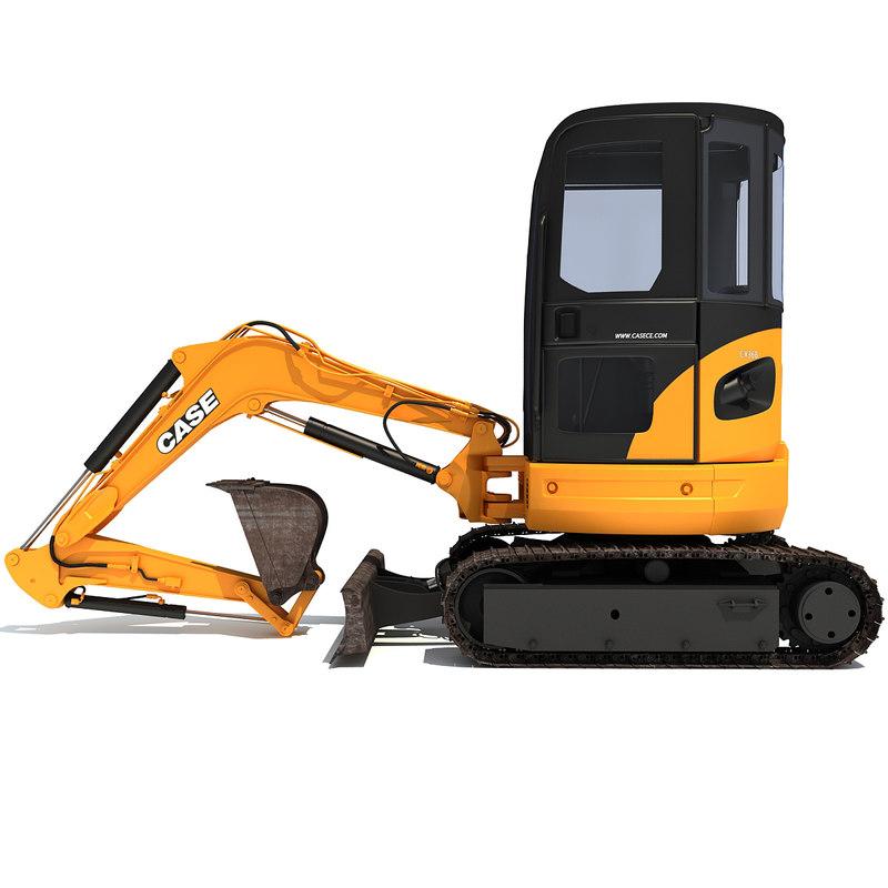 mini case excavator 3d model