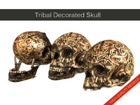 tribal decorated skull 3d max