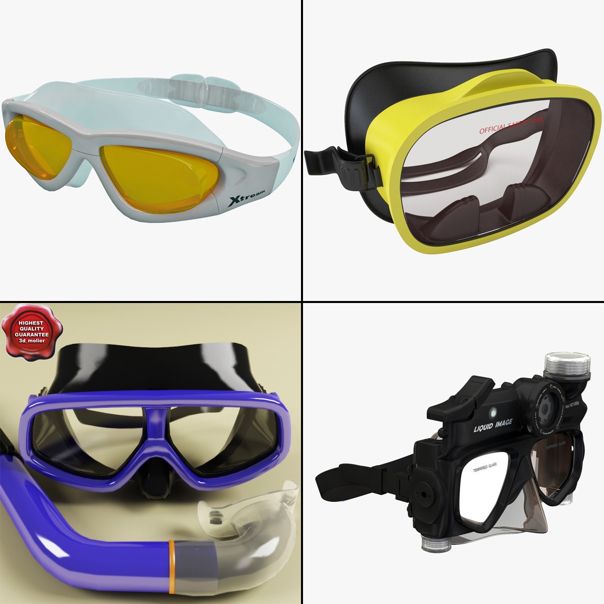 diving masks 3d 3ds