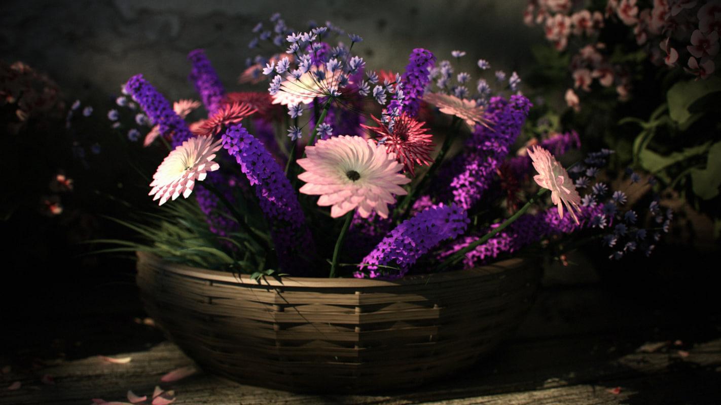 3ds max flower arrangement pelargonium