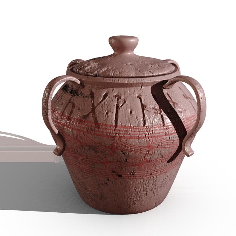 3d model urn pot painted
