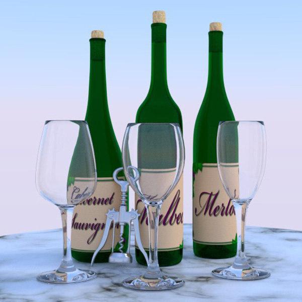 3d model wine bottles