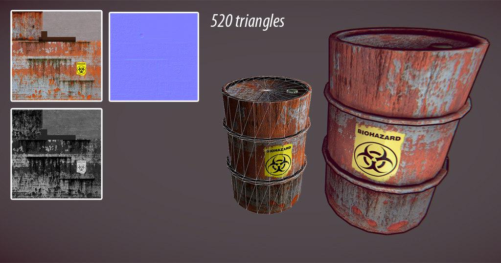 free 3ds model old barrel