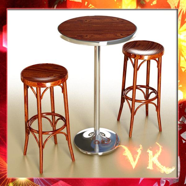bar table stool 3d max