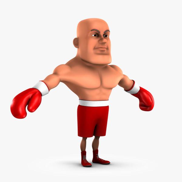 cartoon boxing fighter boxer 3d obj