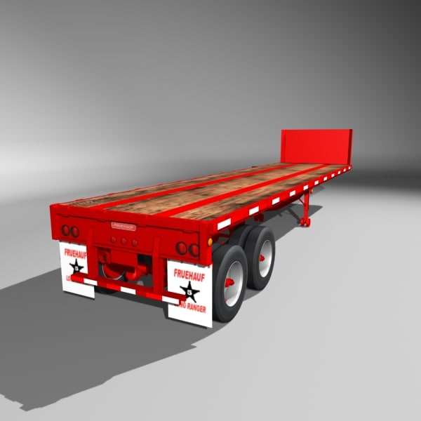 35 fruehauf flatbed semi trailer 3d model