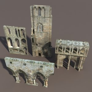 3d model castle ruins modelled