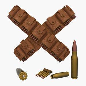 3d model bandoliers bullets
