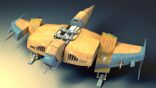 sci fi fighter 3d model