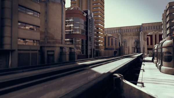 street fictional buildings 3d obj