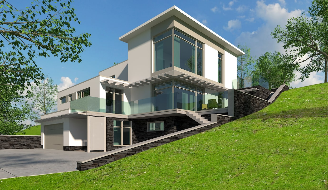 modern family house photorealistic 3d max