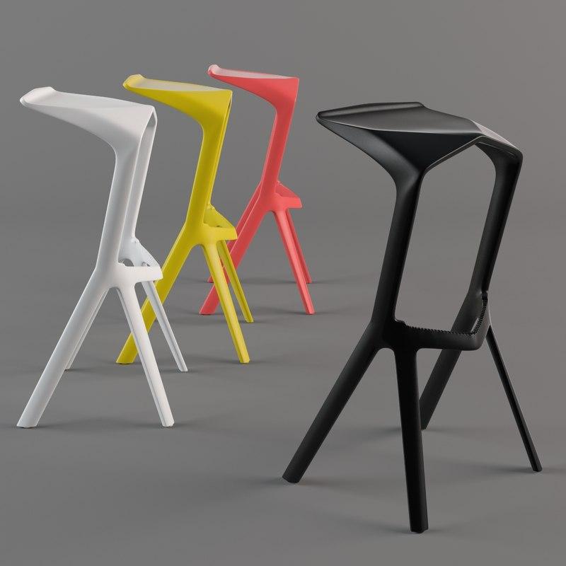 3d model miura stool