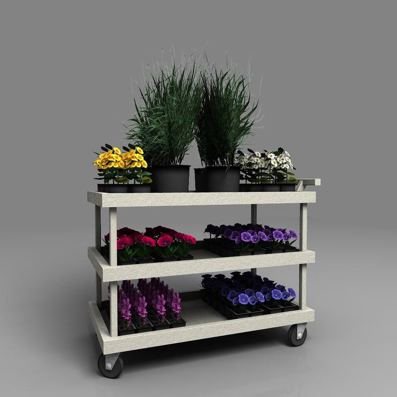 3dsmax plants flowers cart