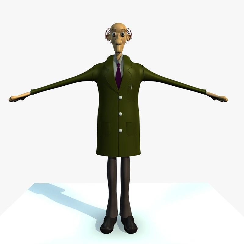 c4d jack male engineer cartoon character