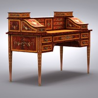 english regency style writing desk 3d model