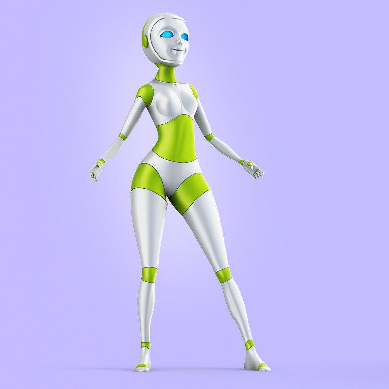 3d model lady robot