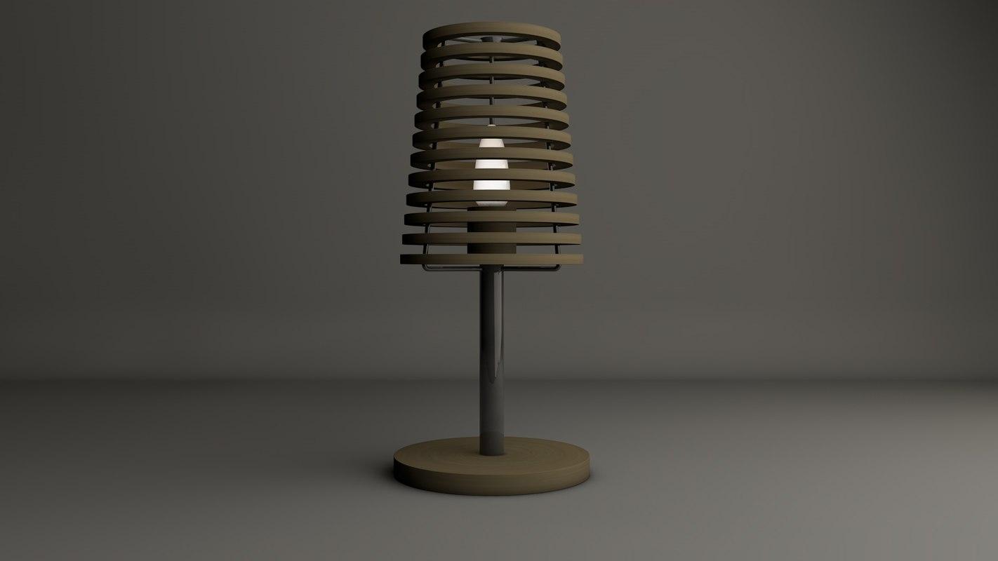 lamp wooden rings 3d c4d