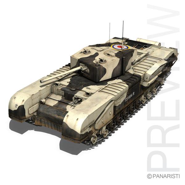 churchill mk iii tank 3d model