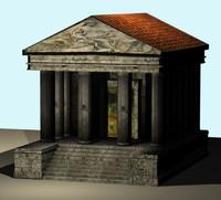 small roman temple 3d model