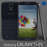 3d samsung galaxy s4 blue model