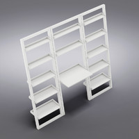 "Crate&Barrel - Sloane White Leaning Desk with 2 25.5"" Bookcases"