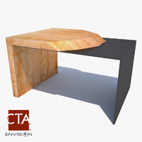 wood end table 3ds