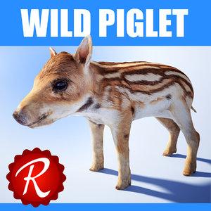 3d model wild piglet