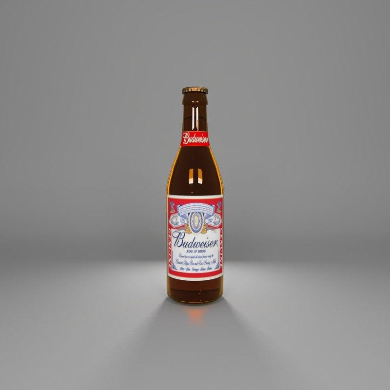 beer budweiser 3d obj