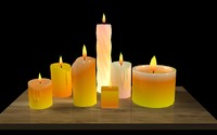 candles flames animation 3d model
