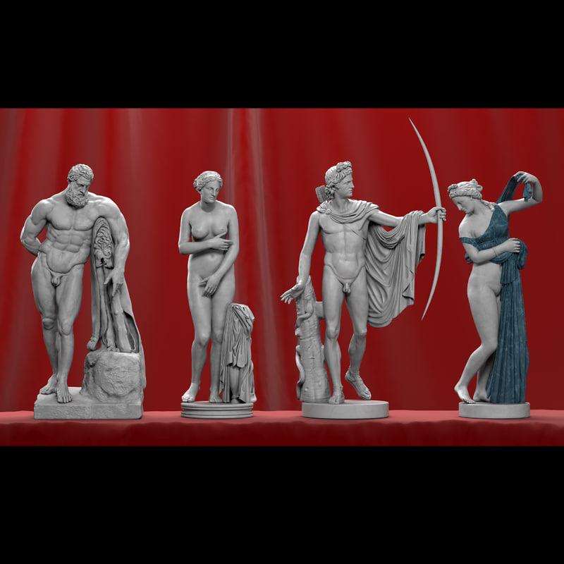 marble sculptures 3d obj