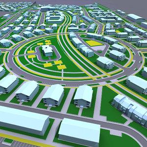 3d residential area model