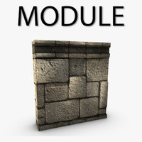 Low poly stone wall module