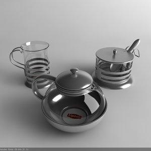 3d model tea set
