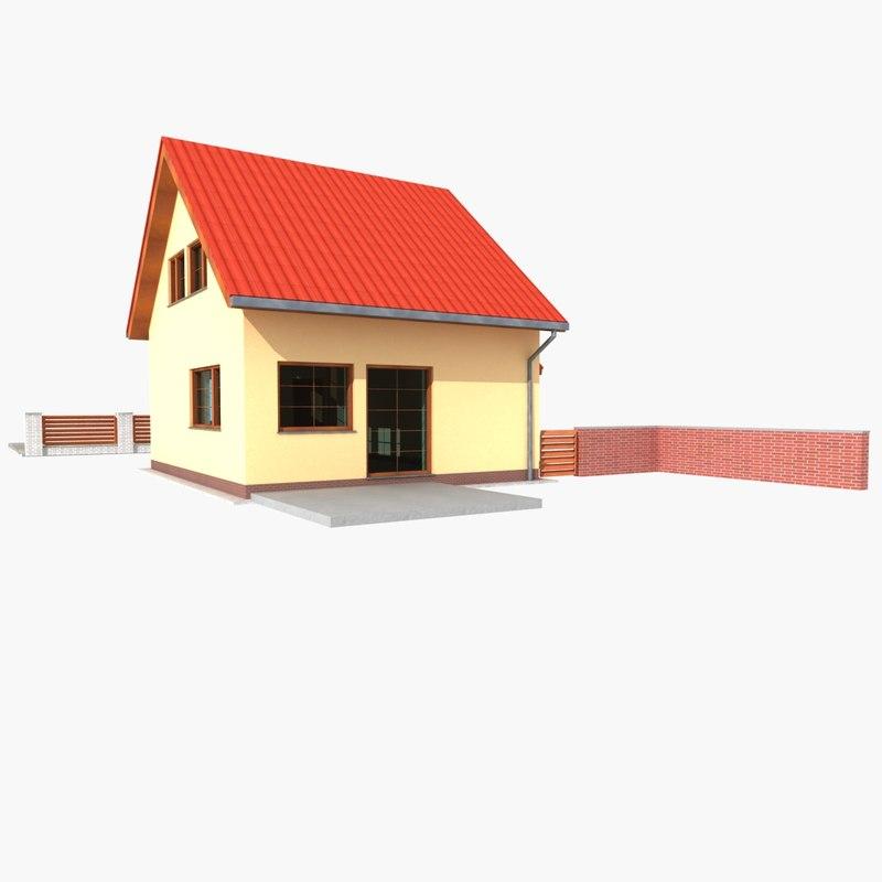 simple detached house 3d model