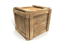 3d model simple wooden crate wood