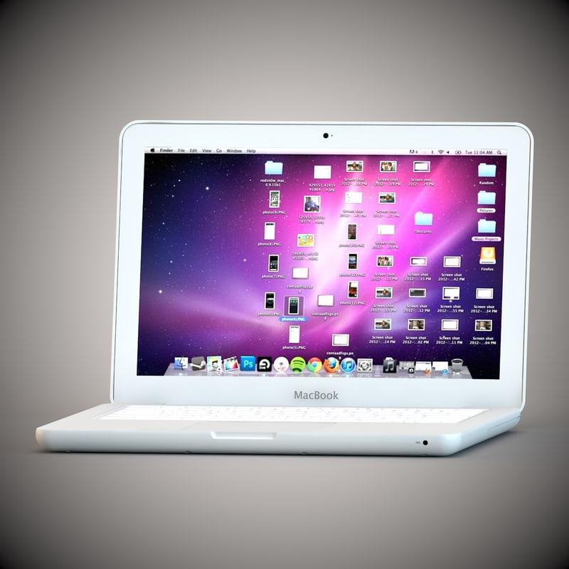 3d macbook white apple model