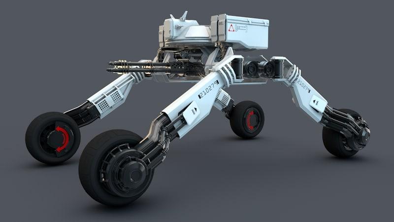 3d robot minigun model