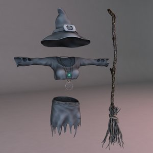 3d witch outfit model