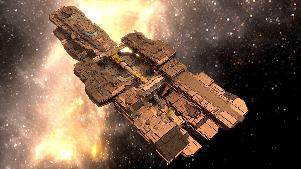 3d sci-fi spaceship
