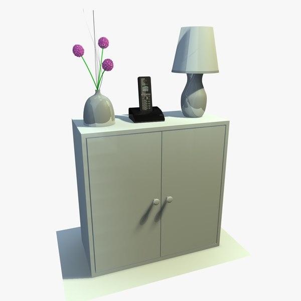 3ds max white cabinet decor