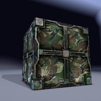 Military cargo metal box. Game Ready!